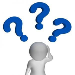 איש לבן ומעליו סימני שאלה כחולים