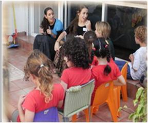 בנות שירות ממרכז רעות מעבירות פעילות לילדים