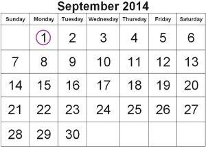 לוח חודש ספטמבר