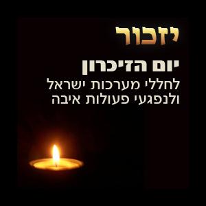 """נר זיכרון ומעל כיתוב """"יום הזיכרון לחללי מערכות ישראל ונלפגעי בפעולות האיבה"""""""